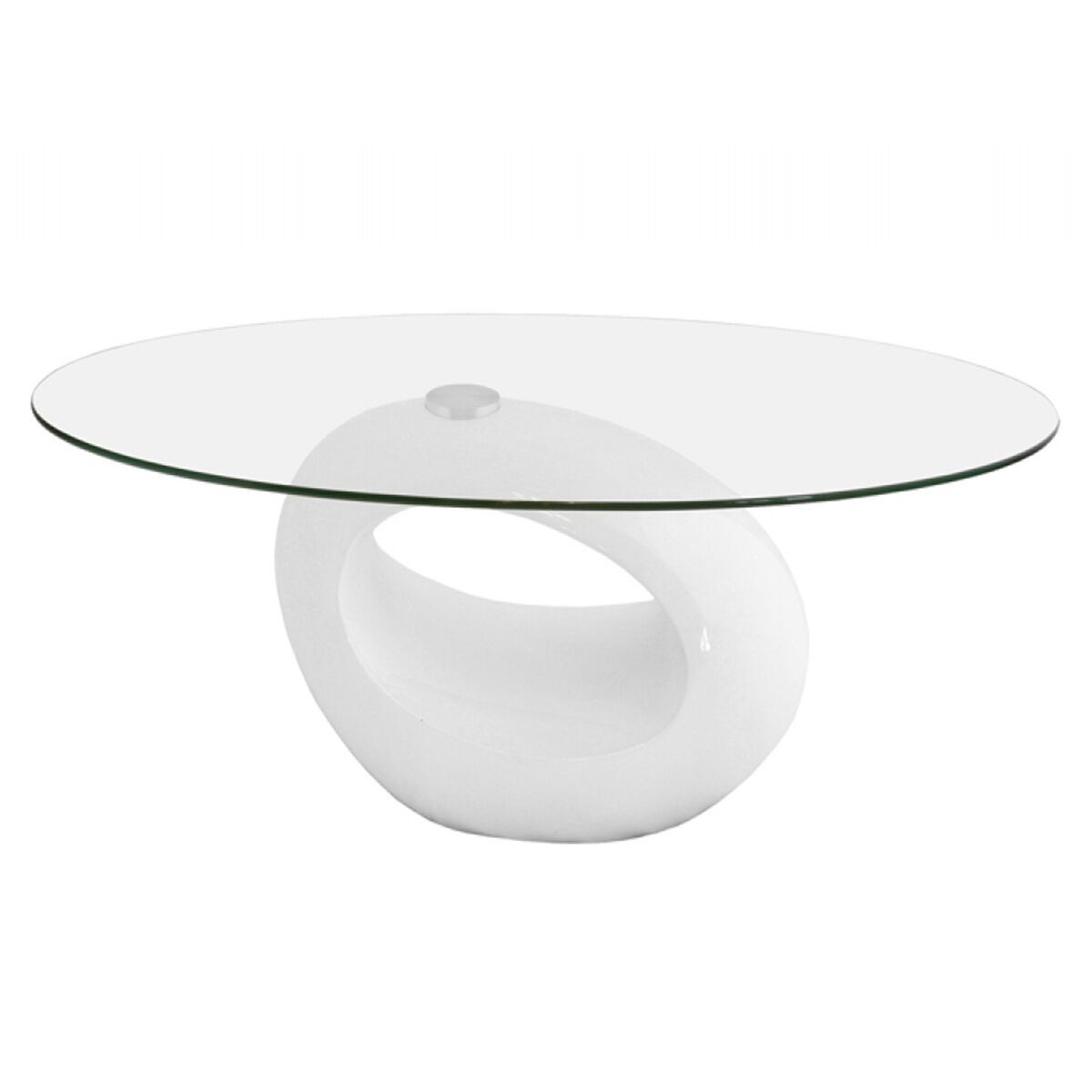 neblus curved white clear glass coffee table