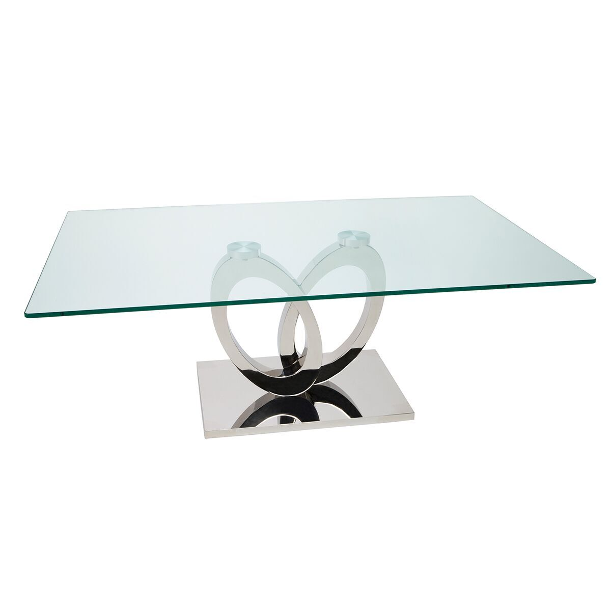 orion coffee table glass stainless steel