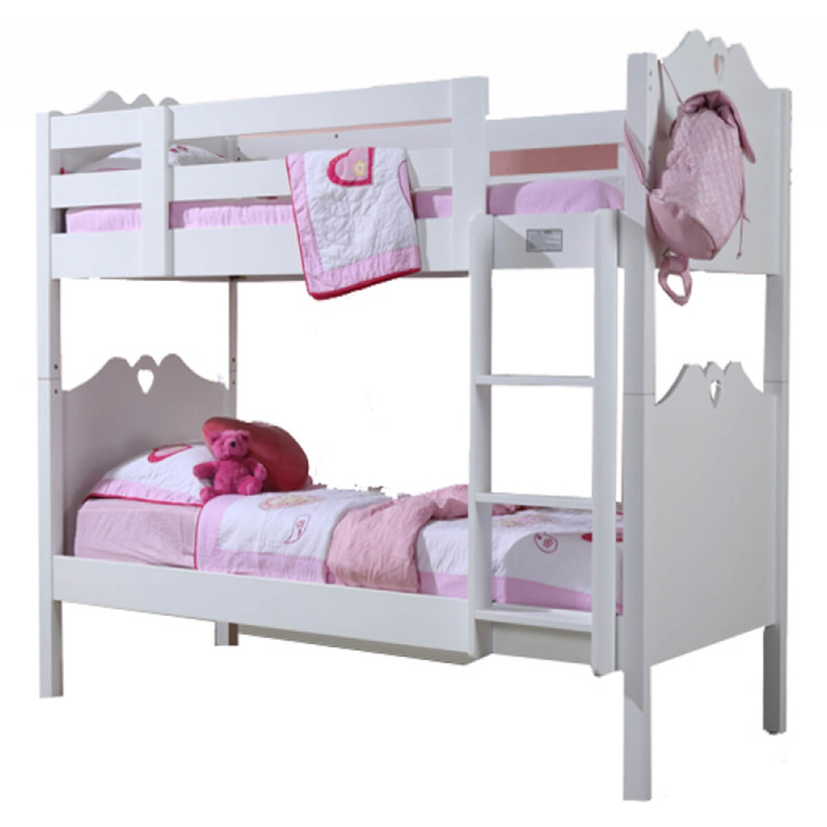 Holly White Wooden Bunk Bed With Heart Motif Childrens Beds Fads