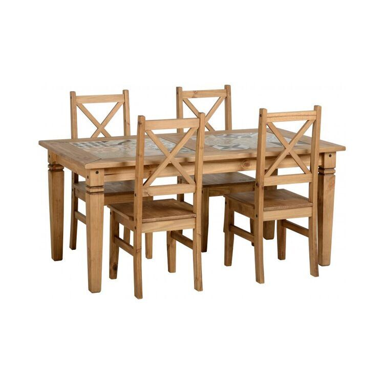 kingston tile top dining table in distressed waxed pine fads co uk