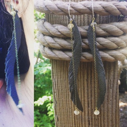 Recycled Olive Leather Feather Earrings with Citrine | faerwear