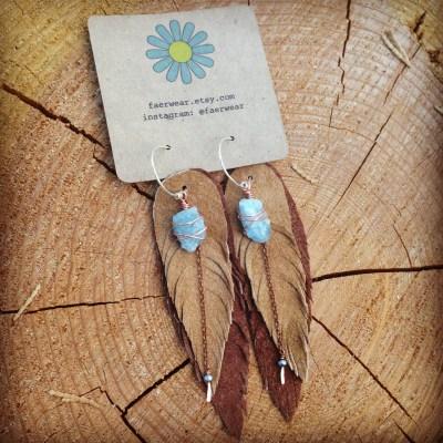 Tan Suede Leather Feather Aquamarine Earrings | faerwear