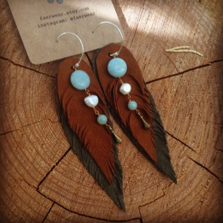 Olive and Tan Suede Feather earrings with Amazonite | faerwear