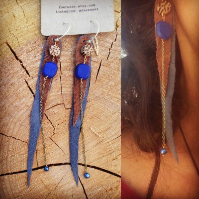 Suede, coconut and lapis earrings with freshwater pearls | faerwear