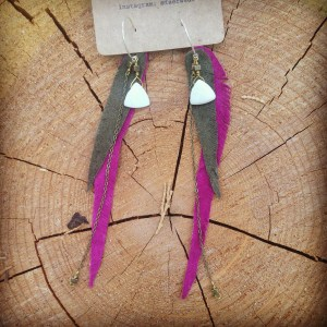 Olive and Fuchsia Leather Feather Earrings with Shell and Pearls | faerwear
