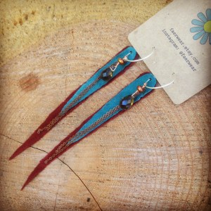 Cranberry and Turquoise Leather Earrings with Smoky Quartz | faerwear