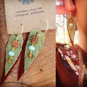 rust and pale green leather earrings with coconut, amazonite and freshwater pearls | faerwear