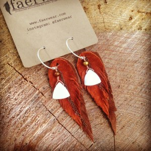 Light and Dark Rust Leather Feather and Shell Earrings | faerwear