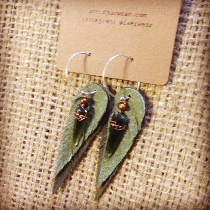 Green Suede Leather Feather Earrings with Green Rutilated Laser Quartz