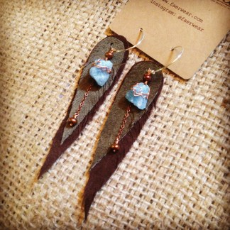 Olive and Brown Leather Feather Aquamarine Earrings | faerwear