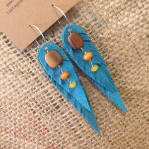 Vegan turquoise feather earrings with rosewood and orange and yellow jade | faerwear