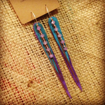 Teal and purple vegan Vegan ultrasuede earrings, purple and teal, with purple jade | faerwear