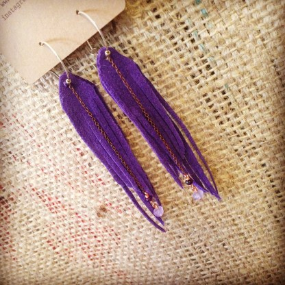Vegan Earrings, Purple Ultrasuede Medium Fringe with Purple Suede and Amethyst | faerwear