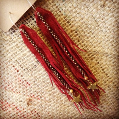 Long Rust Suede Fringe Earrings with Brass Stars | faerwear