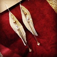 Cream Suede Seraphim Wing earrings with Citrine and Pearls | faerwear