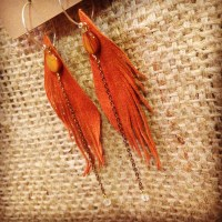 Light Rust Suede Seraphim Wing earrings with Shell and Citrine | faerwear