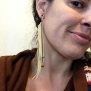 Long Fringe Earrings, worn