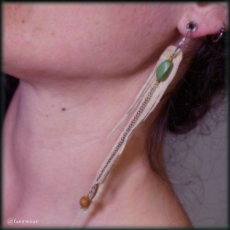 Natural Lambskin Dryad Wing Earrings with Turquoise | faerwear