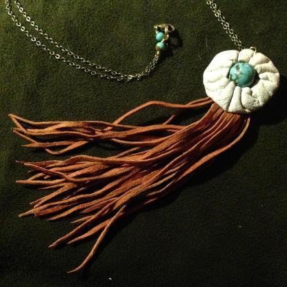Handsewn Leather Button Deerskin Tassel necklace | faerwear