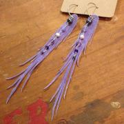 Purple Feather Earrings - Repurposed Suede Dryad Wings with Amethyst, Freshwater Pearls and Rainbow Hematite | faerwear