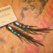 Olive Green Feather Earrings - Dryad Wings with Silver and Gems | faerwear