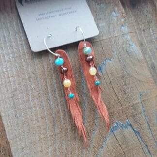 Short nymph cut, tan with turquoise and yellow carnelian | leather earrings, feather earrings, ethically sourced jewelry | faerwear