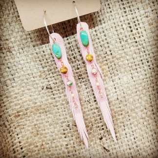 Powder Pink Leather Earrings, Nymph Cut with Turquoise | faerwear