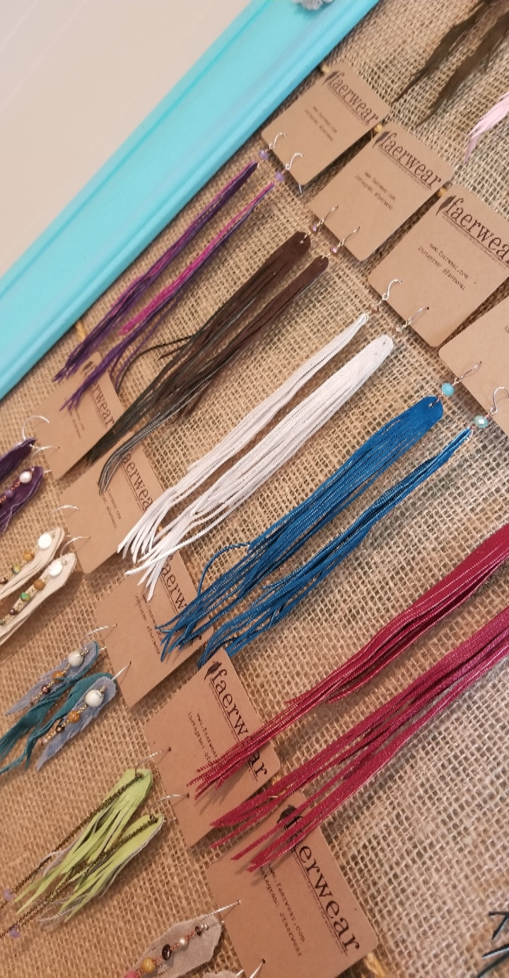 Summer Swag   Long Fringe Earrings   Long Feather Earrings   Upcycled Leather Jewelry   faerwear designs