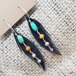 Brown Leather Earrings with Pastel Gems | Recycled Leather Jewelry Made in USA | faerwear