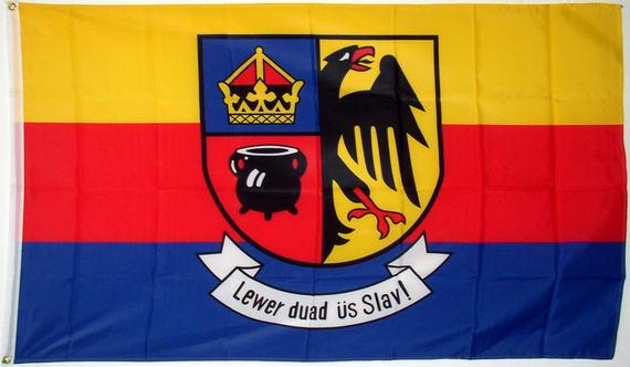 Bild von Fahne Nordfriesland Lewer duad üs Slav!-Fahne Fahne Nordfriesland Lewer duad üs Slav!-Nationalflagge, Flaggen und Fahnen kaufen, im Shop bestellen