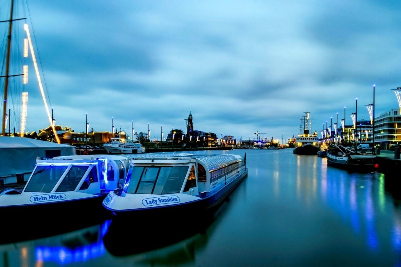 boats, river, night
