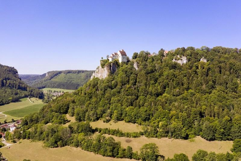 castle, mountain, trees