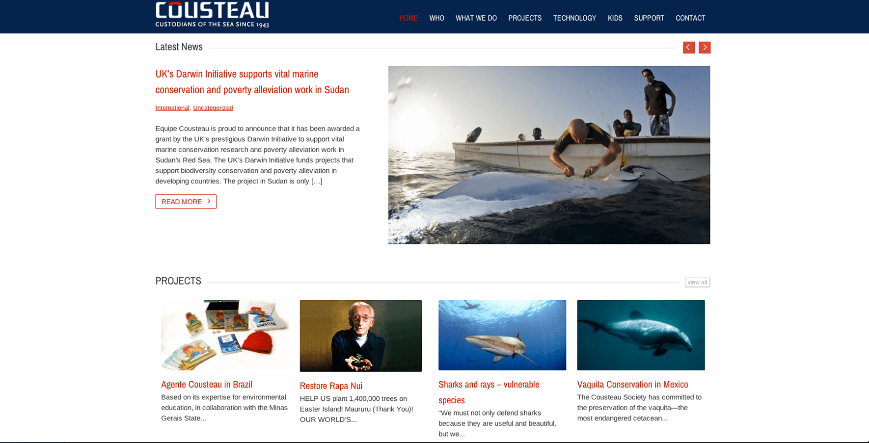 Cousteau Society website design