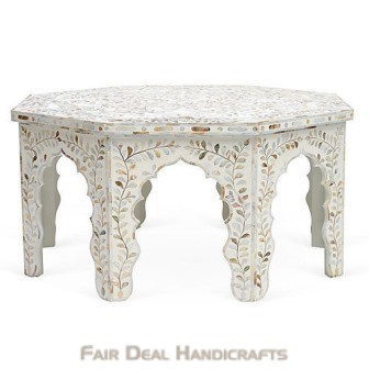 white bone inlay personalized vintage coffee table for home office living
