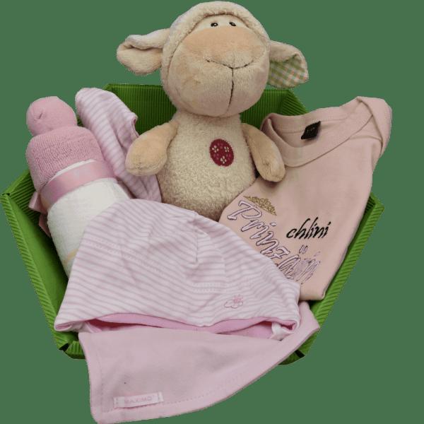 Baby Geschenkkorb rosa schaf