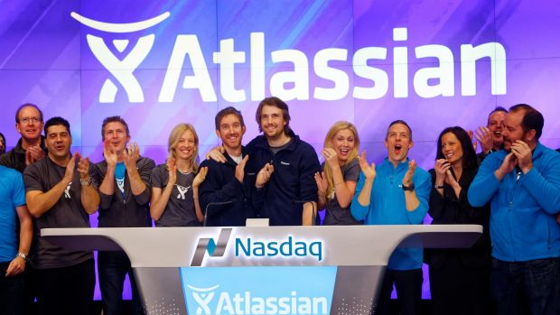 Atlassian co-founders Scott Farqujar (left) and Mike Cannon-Brookes (right) at the Nasdaq listing in 2015: Shares in ...