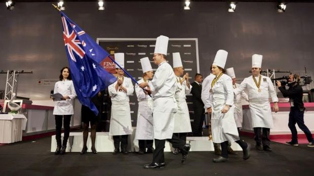 Flag bearer: Shannon Kellam representing Australia at the 2015 Bocuse d'Or in France.