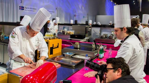 Shannon Kellam (left) competing during the 2015 Bocuse d'Or in France.