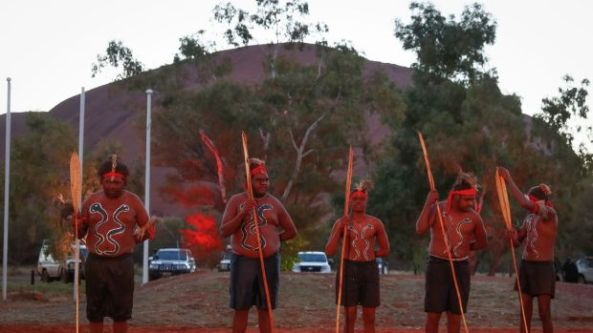 Mutitjulu men perform during the opening ceremony of the First Nations National Convention in Uluru.