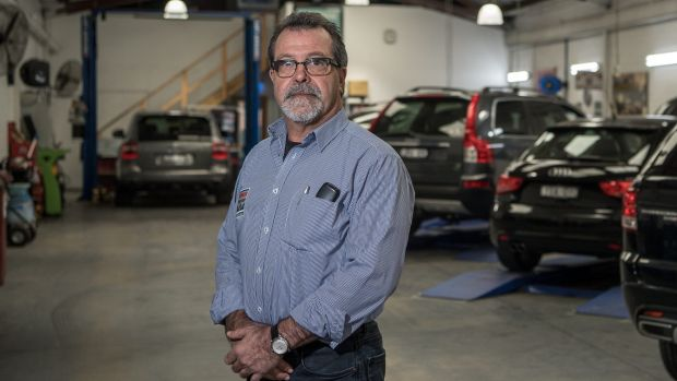 Tony Sanchez at his car workshop in South Melbourne. He says in the future, most auto maintenance will be done via computers.
