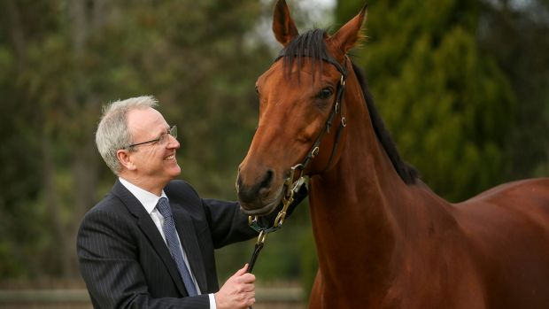 Tabcorp managing director and chief executive officer David Attenborough with racehorse Extra Zero.