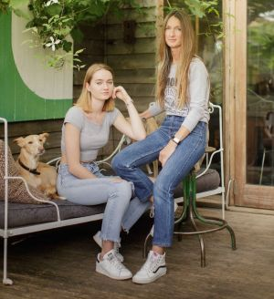 Polly, here with daughter Iggy, embraces an age-defying lifestyle.