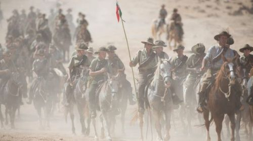 Enthusiasts and descendants of Australian Mounted Division and ANZAC Mounted Division soldiers ride as part of the 100 ...