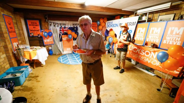 A lonely One Nation supporter as celebrations wind down.