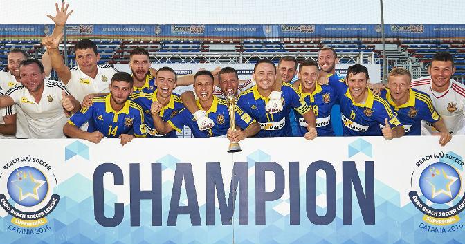 A selecção ucraniana de futebol de praia sagrou-se campeã europeia pela primeira vez na História em 2016. [Foto: BSWW]