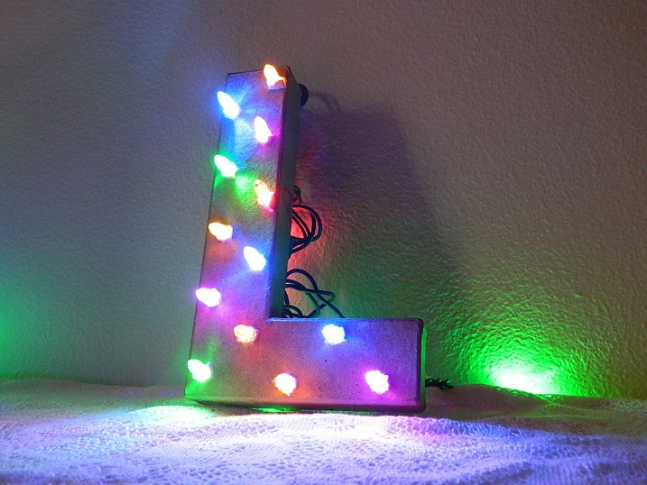 Christmas Light Cardboard Letter