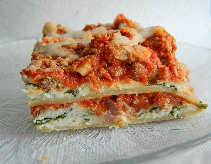 Healthy Whole Wheat Spinach and Ricotta Lasagna