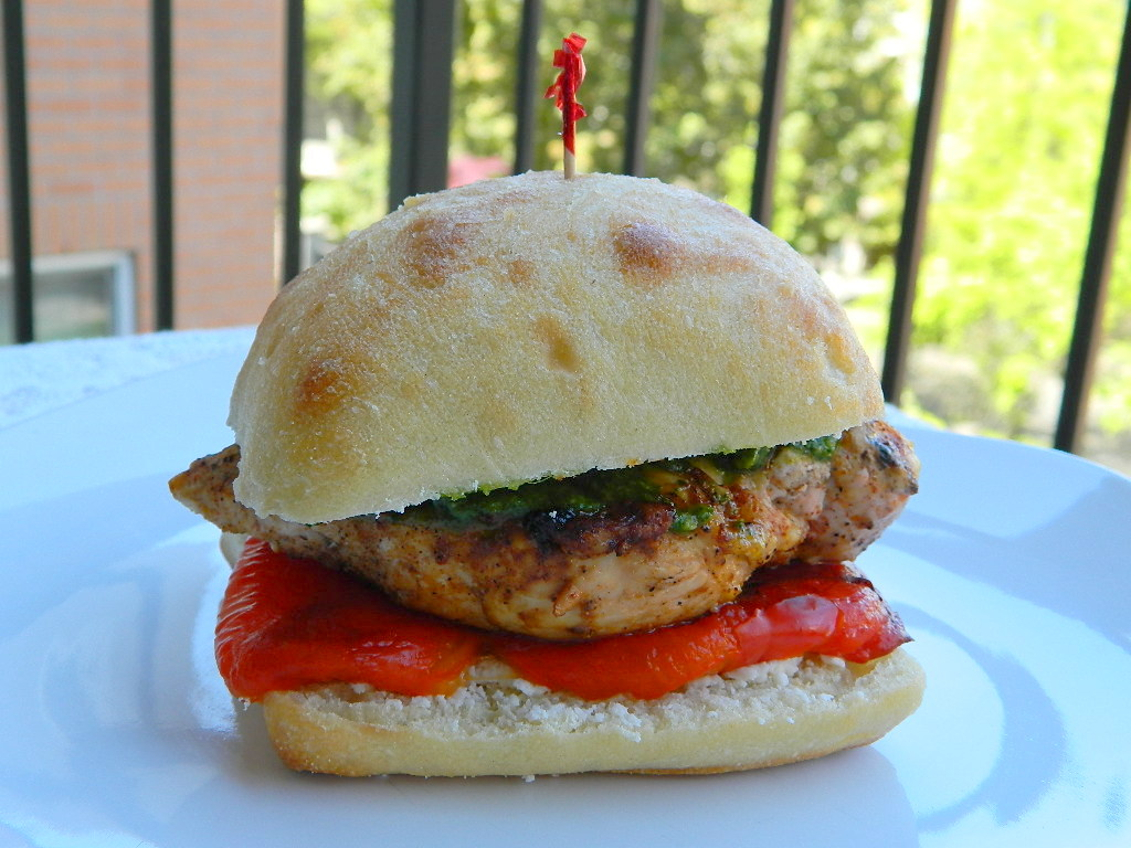 Lemon Chicken and Roasted Red Pepper Sandwiches with Cilantro Pesto