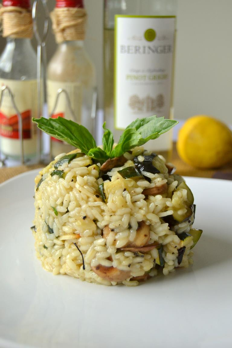 Roasted Zucchini and Mushroom Risotto