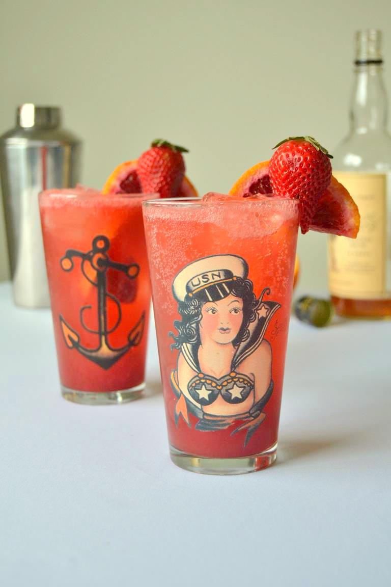 Strawberry Blood Orange Rum Fizz